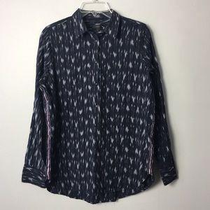 J. Crew navy blue printed shirt top